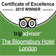 TripAdvisor Certificate of Excellence 2015 - Bloomsbury