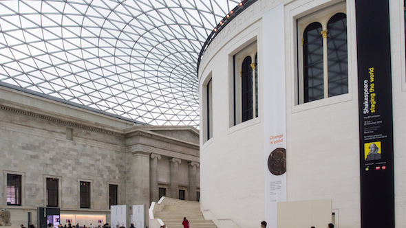 interior landscape and abstract photo of the british museum roof and building taken at day time