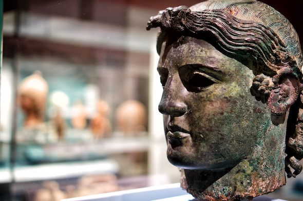 close up image of greek historical and mythological statue presented at the british museum