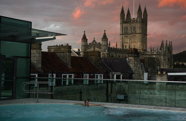 A view of Bath from a rooftop spa