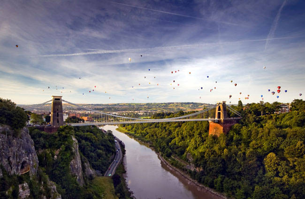 Balloons over the Clifton Suspension Bridge