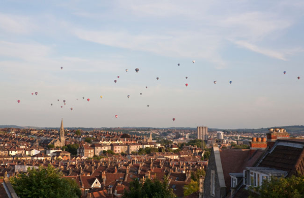 Hot air ballons over Bristol City
