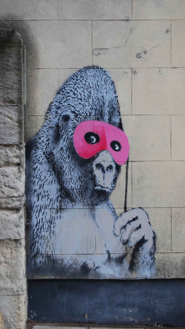 Banksy's Gorilla in a Pink Mask