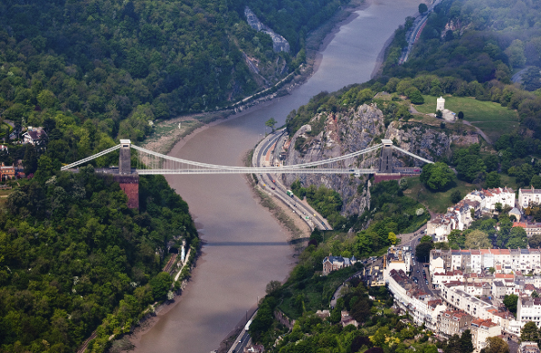 Aerial view of the Clifton Suspension Bridge