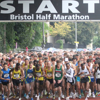 Runners taking part in the Bristol Half Marathon