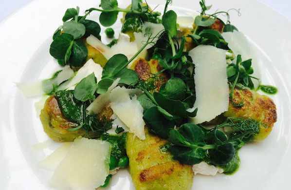 Pea, Courgette & Mint Gnocchi with Crumbled Goats' Cheese & Rocket Pesto