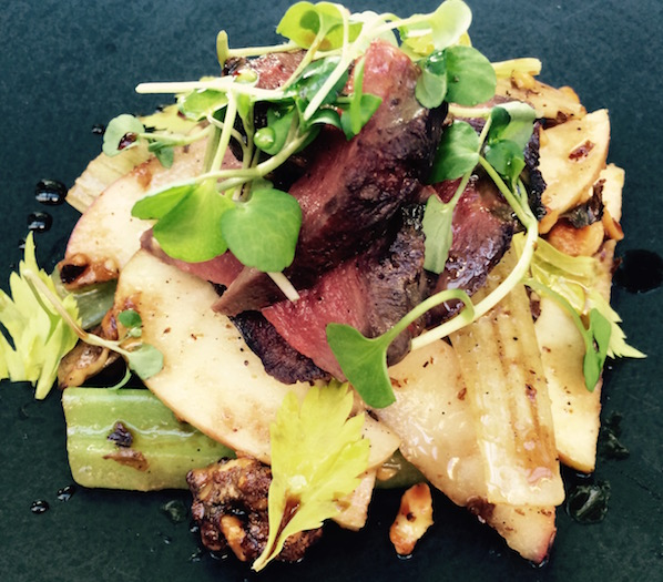 Pigeon Breast with a warm Waldorf Salad from The Bristol hotel