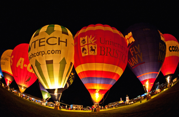 Hot air balloons at night as part of the Bristol Balloon Fiesta