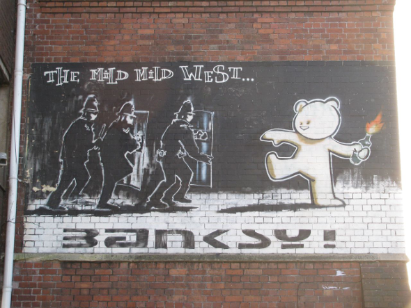 Banksy street art in Bristol City