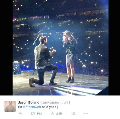 Proposal scene at the Ed Sheeran Dublin concert