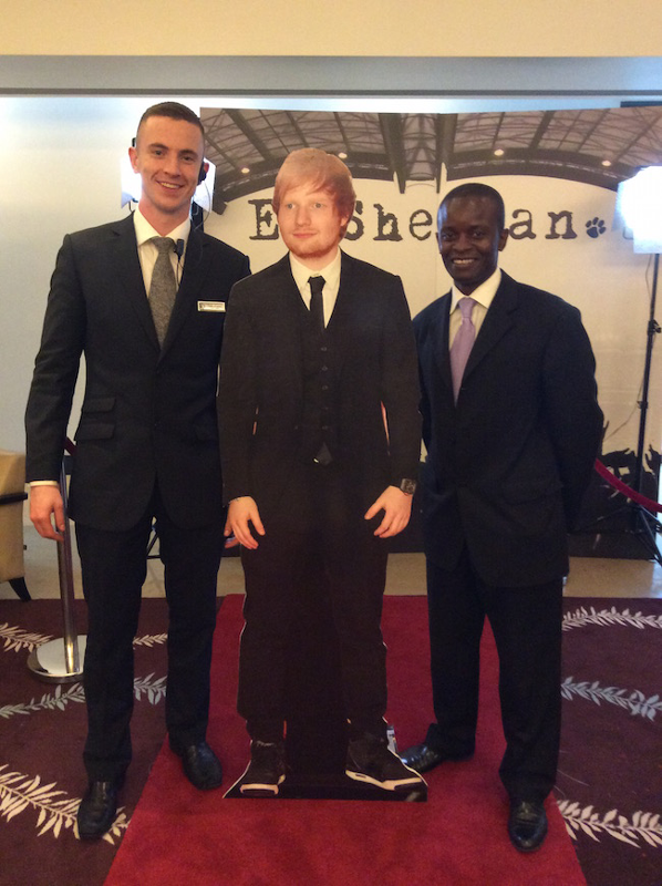 Croke Park team members with a life-size Ed Sheeran cardboard cut-out