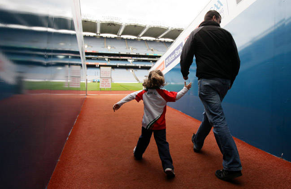 Father and son in the Croke Park Stadium
