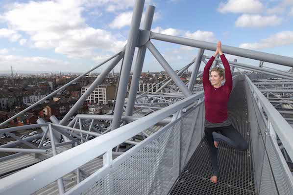Enjoy a rooftop yoga class in Dublin on the top of the Etihad Skyline at Croke Park Stadium.