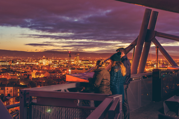 See the Dublin skyline at sunset from Croke Park stadium, before staying right next door in The Croke Park hotel.