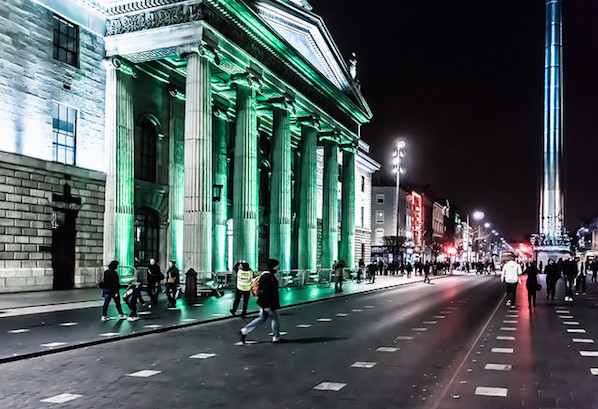 The greening of the buildings in Dublin for St Patrick's Day.