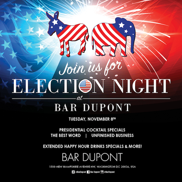To watch the election night coverage with a crowd, join the party at Bar Dupont, in the heart of the political scene in Washington DC.