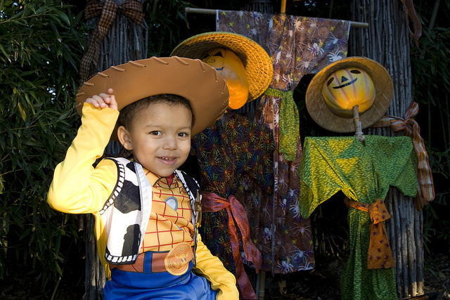 Liitle boy dressed as a cowboy for Halloween
