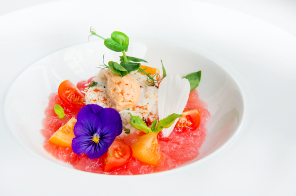 celebrate fathers day at the town house at the kensington hotel special starter devonshire crab with gazpacho vodka jelly