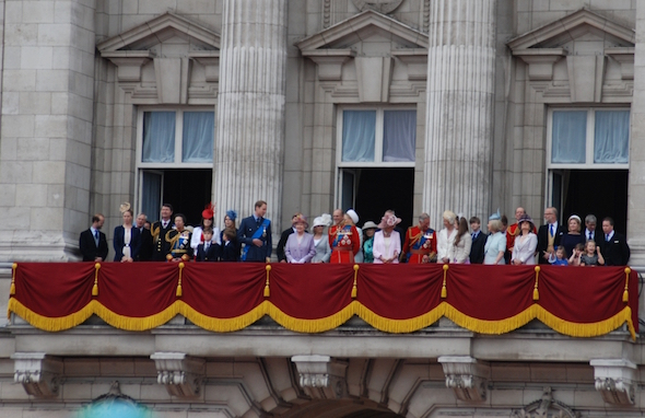the royal family on the balcony celebrating the queens 90th birthday with the kensington and the doyle collection