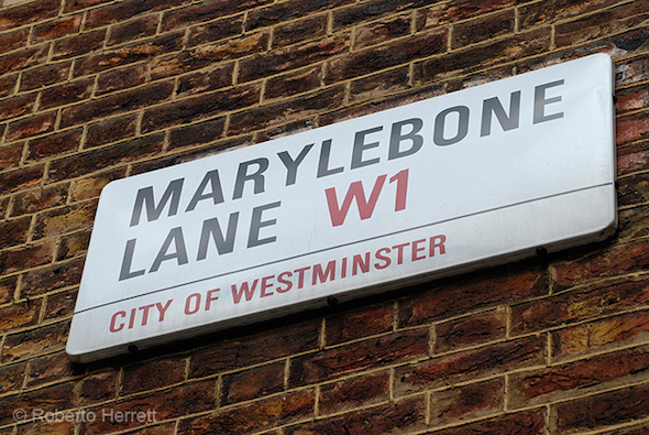Marylebone street sign in London City