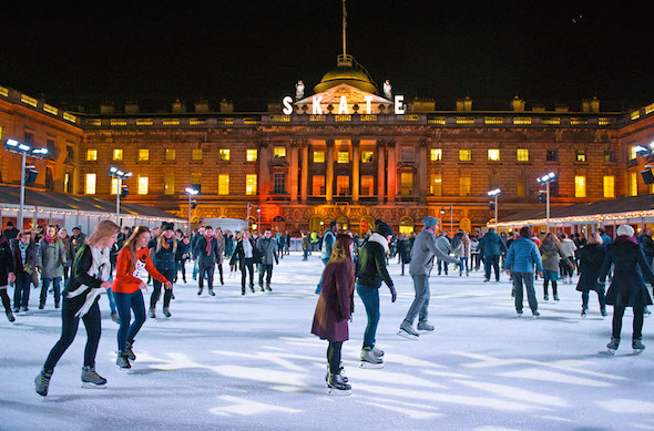 Ice skating in London at Christmas
