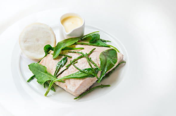 introducing June's dish of the month at 108 brasserie in the marylebone hotel poached salmon with orange hollandaise and sea vegetables
