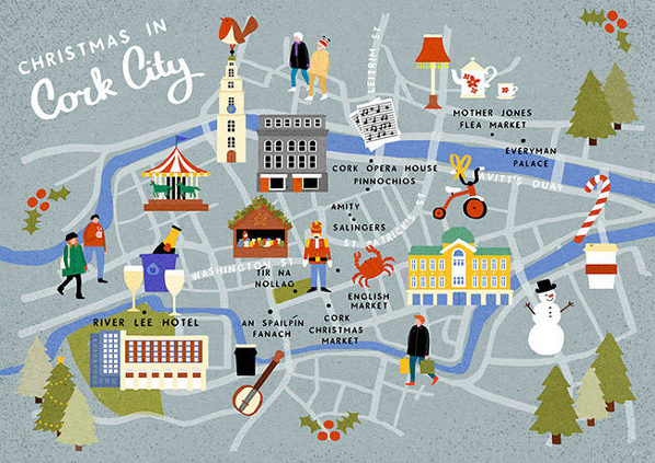 Cork City At Christmas An Illustrated Guide Map The