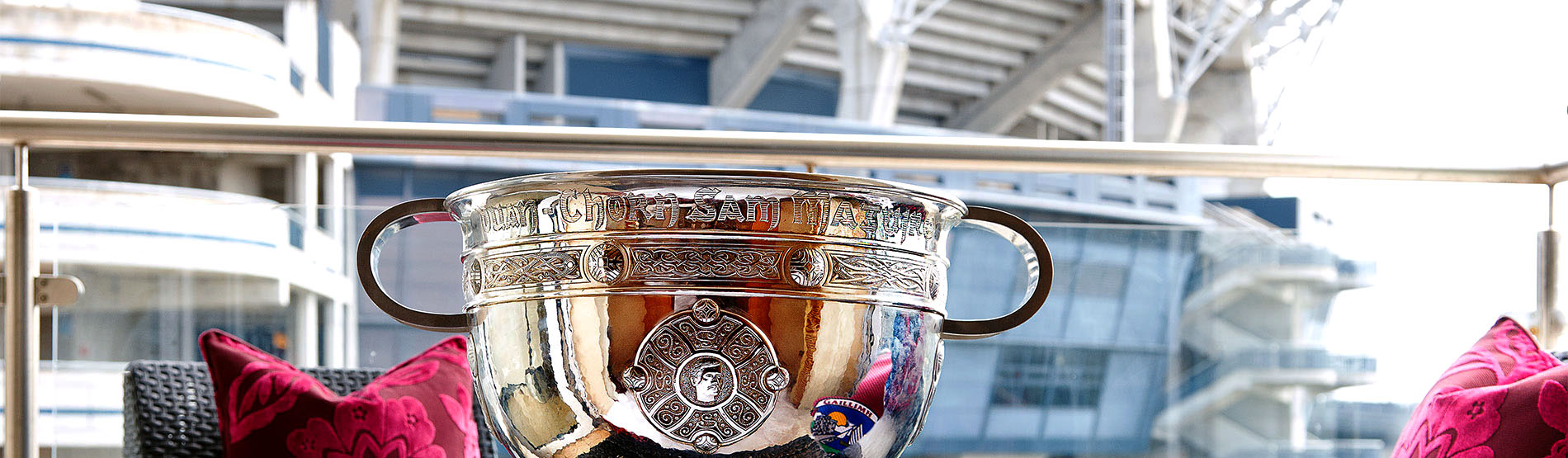 A silver trophy in the Croke Park stadium
