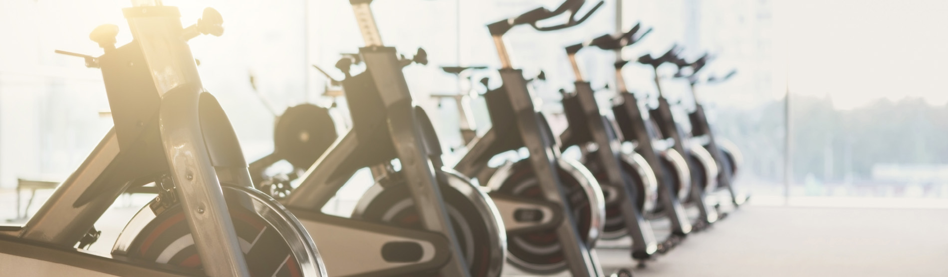 row of spinning bikes in the Gym