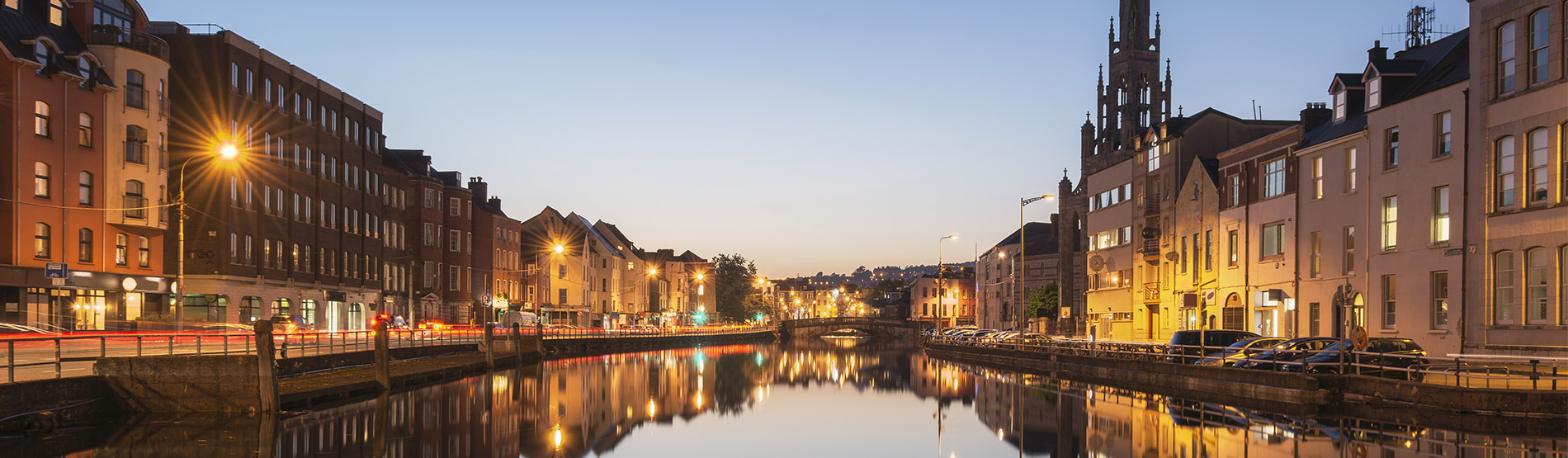 view along the River Lee of Cork City at twilight