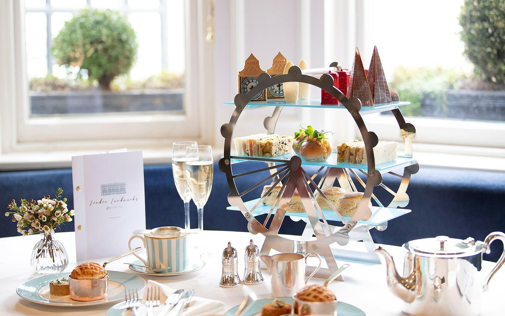 afternoon tea depicting famous landmarks served in Town House