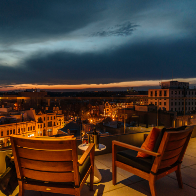 View of Washington DC from the private terrace area of The Dupont Circle, hotel