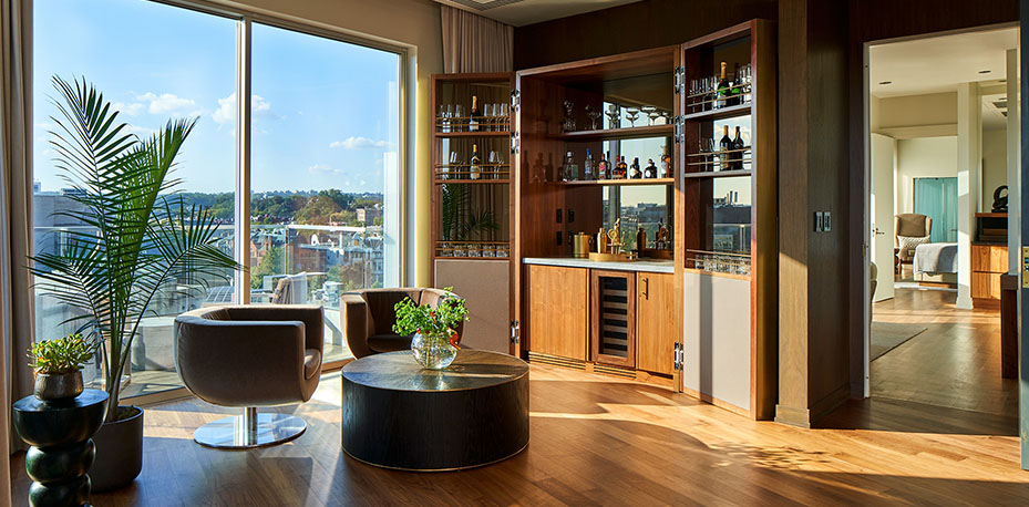 In room bar overlooking the terrace with city views