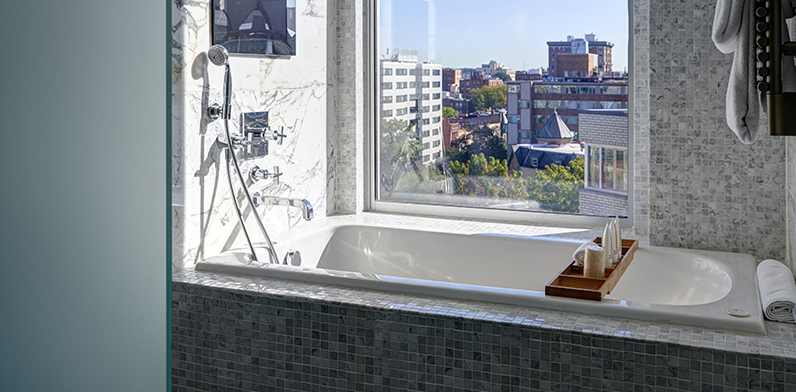 Studio Suite Bathroom with view over city