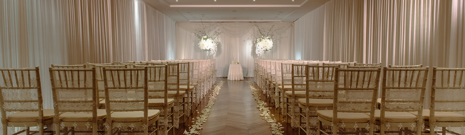 room prepared for a wedding ceremony