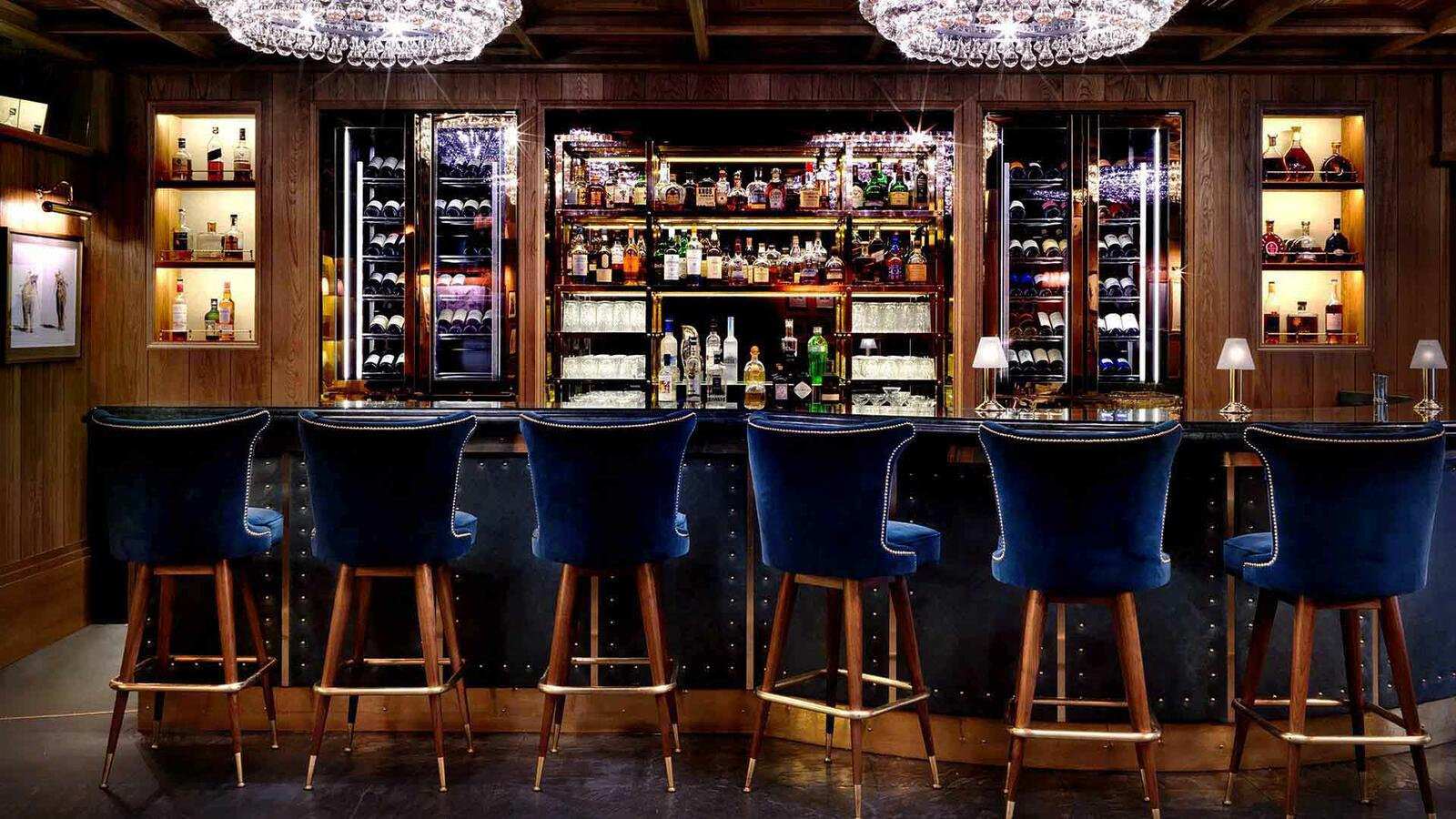 K Bar with blue velvet bar stools