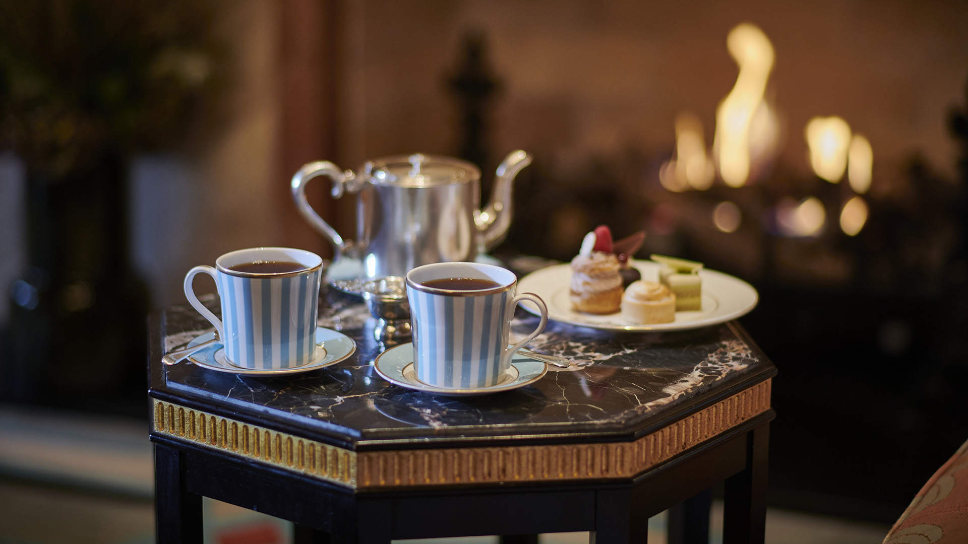 Afternoon Tea by the fireside at The Westbury hotel